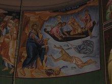 Место явления Господа после Его Воскресения. Где по слову Господа ученики извлекли 153 рыбы. Где Петр трижды покаялся. Икона.