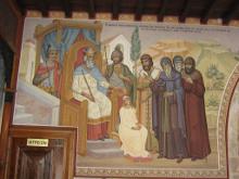 Фрагменты фрески, повествующие о истории иконы Пресвятой Богородицы (Киккская)